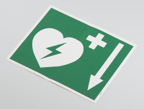 Defibrillator Pfeil unten, Folie, selbstklebend