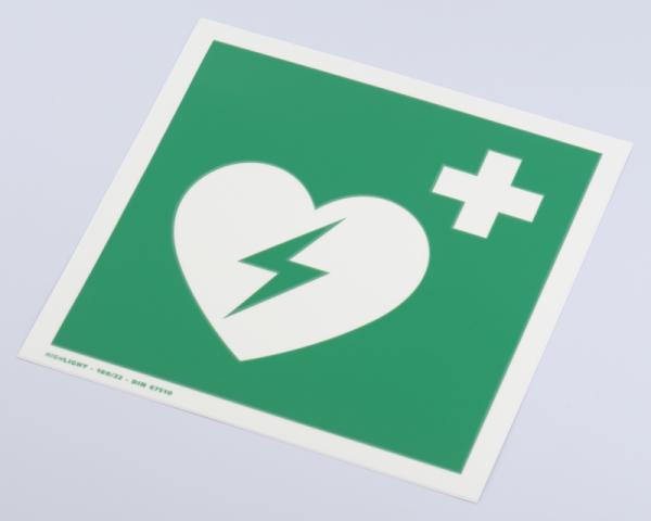 Hinweisschild AED, Folie, langnachleuchtend, selbstklebend