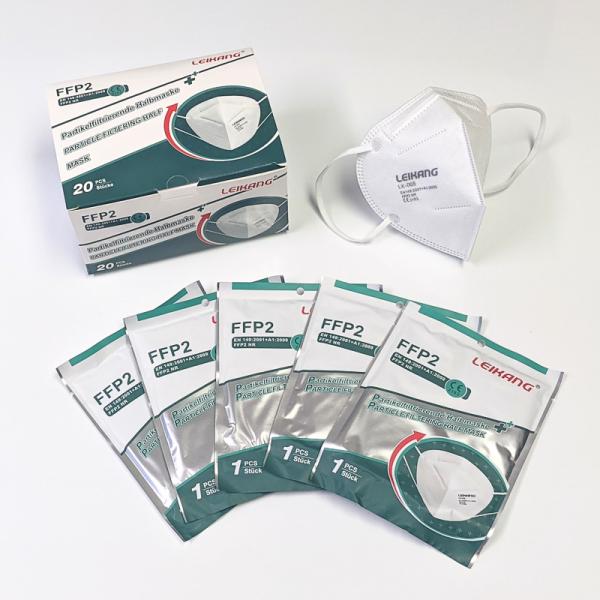 FFP2 Maske 4-fach Lagen ohne Ventil, einzeln verpackt