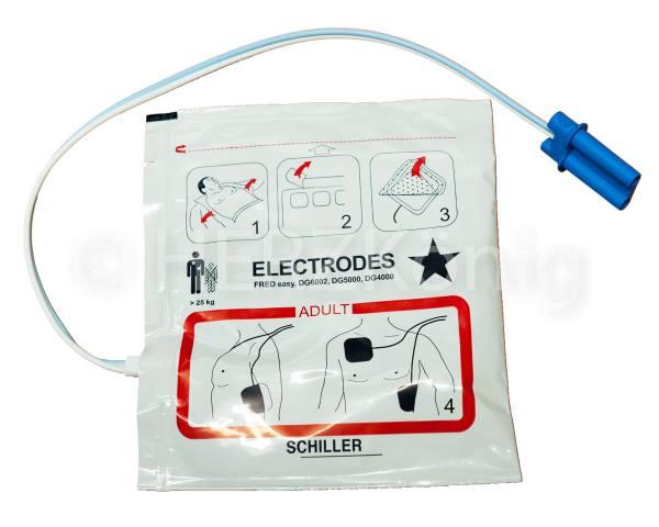 SCHILLER Defielektroden für Erwachsene, vorkonnektiert, großer Stecker
