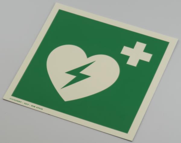 Hinweisschild AED, Kunststoff, langnachleuchtend