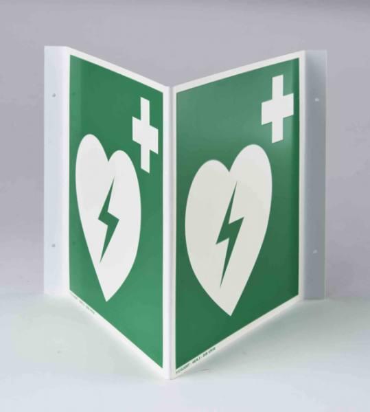 """Winkelschild """"Defibrillator"""" DIN EN ISO 7010, 200mm x 200mm"""